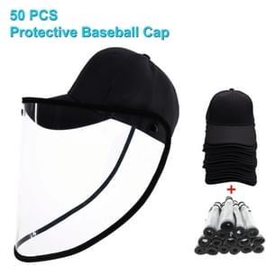 50 PCS Anti-Speeksel Splash Anti-Spitting Anti-Fog Anti-Oil Beschermende Baseball Cap Masker verwijderbare Face Shield (Zwart)