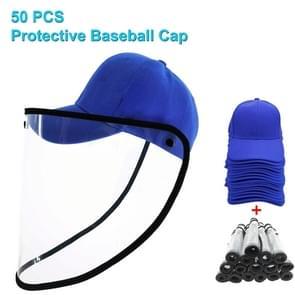 50 PCS Anti-Speeksel Splash Anti-Spitting Anti-Fog Anti-Oil Beschermende Baseball Cap Masker Verwijderbare Face Shield (Blauw)