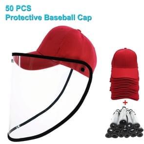 50 PCS Anti-Speeksel Splash Anti-Spitting Anti-Fog Anti-Oil Beschermende Baseball Cap Masker Verwijderbare Face Shield (Rood)