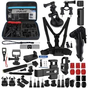 PULUZ 43 in 1 Accessories Total Ultimate Combo Kits for DJI Osmo Pocket with EVA Case (Chest Strap + Wrist Strap + Suction Cup Mount + 3-Way Pivot Arms + J-Hook Buckle + Grip Tripod Mount + Surface Mounts + Bracket Frame + Screen Film + Silicone Case + Tr