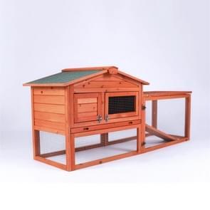 [Amerikaans pakhuis] Wood Rabbit Hutch Chicken Coop Kleine Dierenkooi  Grootte: 154x55.6x70cm