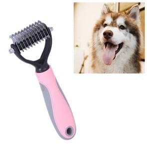 Pet Comb Beauty Cleaning Supplies Hond Roestvrij Stalen Hondenkam  Grootte: 18x7cm (Roze)