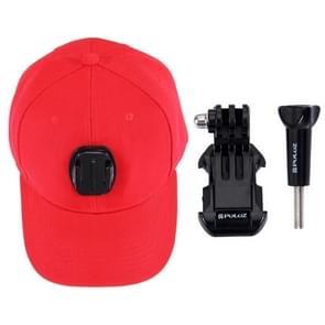 PULUZ honkbal hoed met J-Hook Buckle Mount & schroeven voor  GoPro HERO 7 / 6 / 5 / 5 session / 4 session / 4 / 3+/ 3 / 2 / 1    Xiaoyi nl andere actie Cameras(rood)