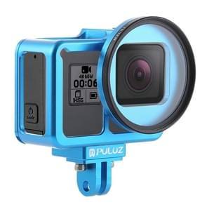 PULUZ Housing Shell CNC Aluminum Alloy Protective Cage with Insurance Frame & 52mm UV Lens for GoPro HERO7 Black /6 /5(Blue)