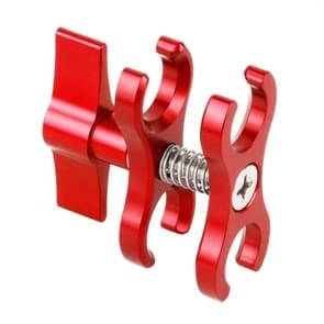 PULUZ Dual Ball Clamp Open Hole Diving Camera Bracket CNC Aluminum Spring Flashlight Clamp for Diving Underwater Photography System(Red)