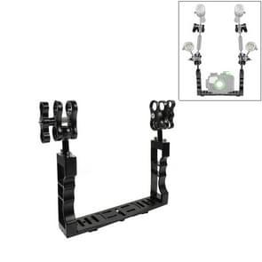 PULUZ Dual Handle Aluminium Tray Stabilizer with Dual Ball Aluminum Alloy Clamp for Underwater Camera Housings