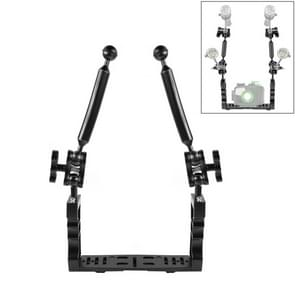 PULUZ Dual Handle Aluminium Tray Stabilizer with 2 x Dual Ball Aluminum Alloy Clamp & 2 x 7 inch Floating Arm for Underwater Camera Housings(Black)