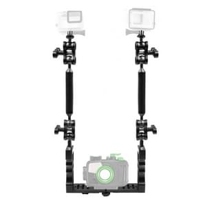 PULUZ Dual Handle Aluminium Tray Stabilizer with 4 x Dual Ball Aluminum Alloy Clamp & 2 x 7 inch Floating Arm & 2 x Ball Head Adapter for Underwater Camera Housings