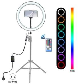 PULUZ 12 inch RGB Dimmable LED Ring Vlogging Selfie Photography Video Lights with Cold Shoe Tripod Ball Head & Phone Clamp(AU Plug)