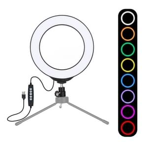 PULUZ 6.2 inch 16cm USB 10 Modes 8 Colors RGBW Dimmable LED Ring Vlogging Photography Video Lights with Cold Shoe Tripod Ball Head(Black)