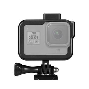 PULUZ for GoPro HERO8 Black Standard Border Aluminum Alloy Frame Mount Protective Case with Base Buckle & Long Screw(Black)