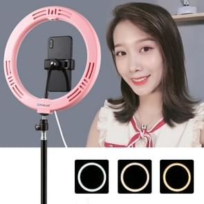 PULUZ 10 2 inch 26cm USB 3 Modes Dimable Dual Color Temperature LED Curved Diffuse Light Ring Vlogging Selfie Photography Video Lights with Phone Clamp(Pink) PULUZ 10.2 inch 26cm USB 3 Modes Dimable Dual Color Temperature LED Curved Diffuse Light Ring Vlo