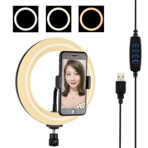 PULUZ 7 9 inch 20cm USB 3 modi dimbare dubbele kleur temperatuur LED gebogen licht ring Vloggen Selfie fotografie video-verlichting met telefoon klem (zwart)