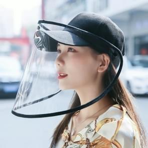 Anti-Speeksel Splash Anti-Spitting Anti-Fog Anti-Oil Beschermende Baseball Cap Masker verwijderbare Face Shield (Zwart)