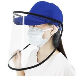 Anti-Speeksel Splash Anti-Spitting Anti-Fog Anti-Oil Beschermende Baseball Cap Masker verwijderbare Face Shield (Blauw)
