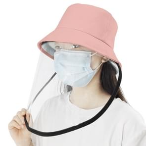 Anti-Speeksel Splash Anti-Spitting Anti-Fog Anti-Oil Beschermende Cap Masker Verwijderbare Face Shield (Roze)