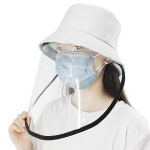 Anti-Speeksel Splash Anti-Spitting Anti-Fog Anti-Oil Beschermende Cap Masker Verwijderbare Face Shield (Wit)