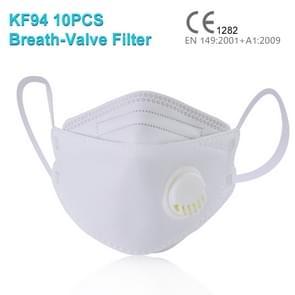 10 PCS CE Certified KF94 Ademend ademmiddel stofdicht antivirale antivirale anti-mist Wilgenbladvormig beschermend masker met ademklepfilter