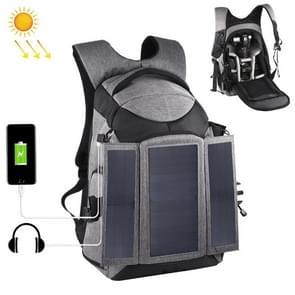 PULUZ 3-Fold 14W Solar Power Outdoor Portable Dual Shoulders Backpack Camera Bag with USB Port & Earphone Hole(Grey)