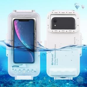 PULUZ 45m Waterproof Diving Housing Photo Video Taking Underwater Cover Case for iPhone 11, iPhone X, iPhone 8 & 7, iPhone 6s, iOS 13.0 or Above Version iPhone(White)
