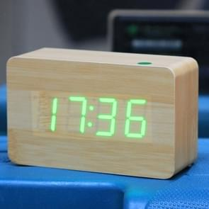 Green Number USB / Battery Wooden Clock with Voice Control (Alternately display time  month & date and temperature)(Green)