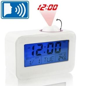 Sound Controlled Talking Time Projection Clock with Calendar and Temperature LCD Display(White)