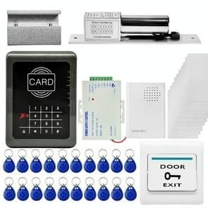 MJPT004 deur toegangscontrole systeem kits + Strike deurslot + 20 ID Keyfobs + 10 ID kaarten + voeding + Exit knop + deurbel