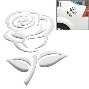 3D Rose Pattern Car Sticker, Size: 10.5cm x 8cm (approx.)(Silver)