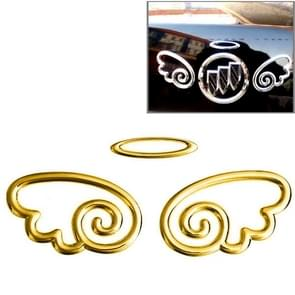 3D Wings Pattern Auto Emblem Logo Decoration Car Sticker, Size: 15.7cm x 5.5cm (approx.)(Gold)