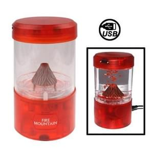 Mini USB Powered Red Light Fire Mountain Aquarium