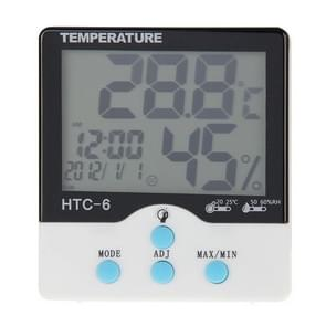 HTC-6 Digital Indoor Luminous Centigrade and Fahrenheit Thermometer & Hygrometer with Screen Display & Date & Clock