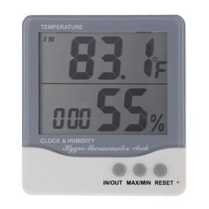 THC-08 buiten/indoor LCD digitale elektronische thermometer hygrometer wekker (grijs)