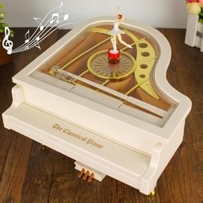 Mechanical Classical Ballerina Girl Dancer the Piano Music Box(White)