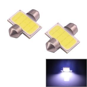 2 PCS 31mm 1.5W 80LM White Light 1 COB LED License Plate Reading Lights Car Light Bulb