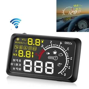 X3 Bluetooth 5 5 inch Auto OBDII / EUOBD HUD Vehicle-mounted Head Up Display Security System  Support Speed & Fuel Consumption  Overspeed Alarm  Water Temperature  etc(Black)