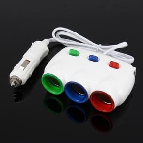 ELENO Y-071 120W/5V/3.1 A 1 tot 3 auto sigaret socket met 2 USB-poorten voor het opladen  kabel lengte: 80cm (wit)