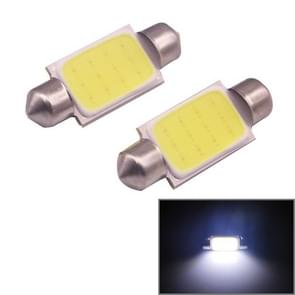 2 PCS 39mm 1.5W 80LM White Light 1 COB LED License Plate Reading Lights Car Light Bulb