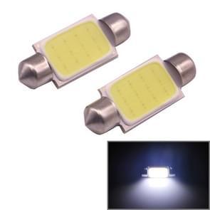 2 PCS 41mm 1.5W 80LM White Light 1 COB LED License Plate Reading Lights Car Light Bulb