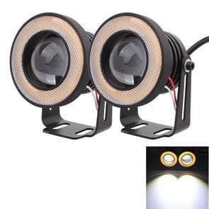 2 stuks 2 5-inch 10W 900LM White + geel licht 6500K waterdichte LED Eagle Eye licht voor voertuigen  DC 12V  kabellengte: 20cm(Black)