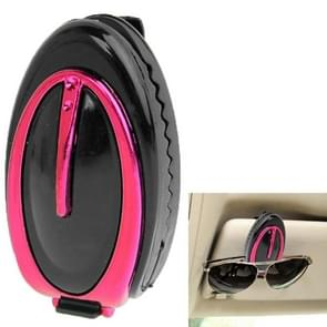Car Vehicle Sun Visor Clip Sunglasses / Eyeglass Holder(Magenta)