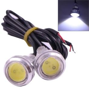 2 PCS 2x 3W 120LM Waterproof Eagle Eye Light White LED Light for Vehicles  Cable Length: 60cm(Silver)