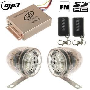 Auto MP3 inbraak alarm met FM-radio & afstandsbediening  ondersteuning SD-kaart & USB Flash Disk