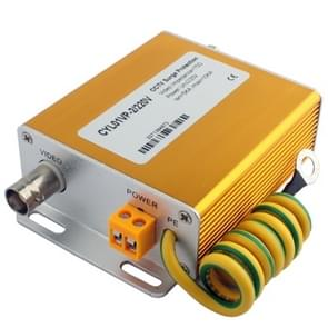 220V 2 in 1 Power Video signaal beveiliging Surge lightning arrester (gouden)