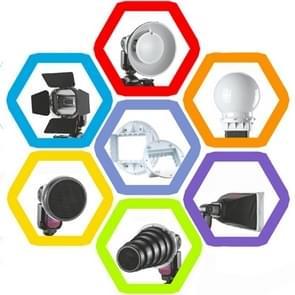 Falcon Eyes SG-100 Speedlite Accessoire Set  Universele Adapter / Lichtklep / Standaard Reflector / Honingraat voor Soft-reflector / Diffuser Bal / Kleuren Gel / Softbox