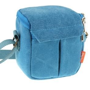 Draagbare digitale Camera Canvas tas met de maat van de borstband: 13 5 x 9 cm x 14cm(Blue)