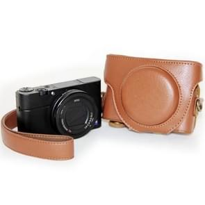 Retro Stijl PU leren Camera Tas met Draagriem voor Sony RX100 M3 (bruin)