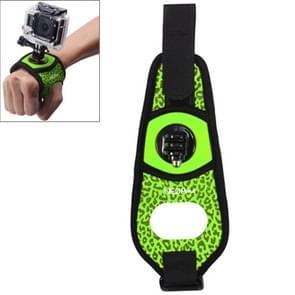 Sexy luipaard 360 graden draaiend Arm riem / polsband + Connecter Mount voor GoPro HERO4 /3+ /3 /2 /1 & Xiaomi Yi Sport Camera(groen)