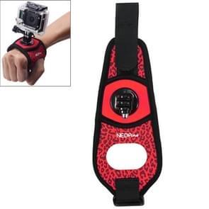 Sexy luipaard 360 graden draaiend Arm riem / polsband + Connecter Mount voor GoPro HERO4 /3+ /3 /2 /1 & Xiaomi Yi Sport Camera(rood)