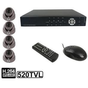 4-kanaals embedded digitale video recorder Kit (1/3 Sony CCD  520TVL  24 x IR LED  6mm lens  IR afstand: 25m  H. 264 (8204EV + 622A)