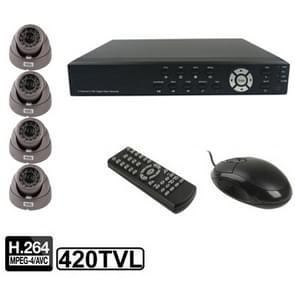 4-kanaals embedded digitale video recorder Kit (1/3 Sony CCD  420TVL  24 x IR LED  6mm lens  IR afstand: 25m  H. 264 (8204EV + 622A)